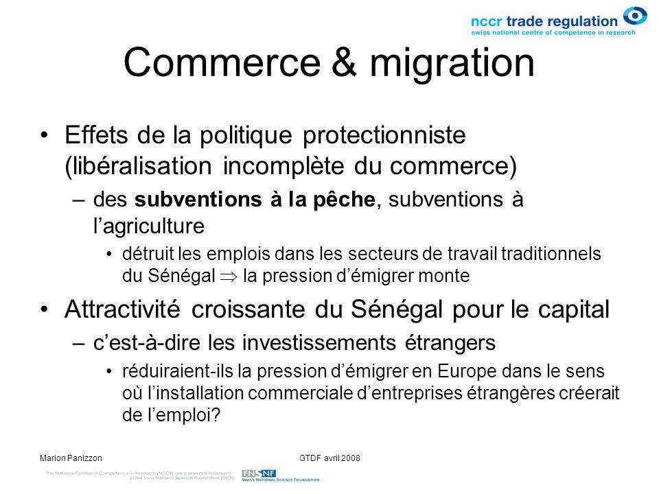 Commerce & migration Effets de la politique protectionniste (libéralisation incomplète du commerce)