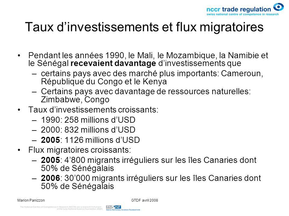 Taux d'investissements et flux migratoires