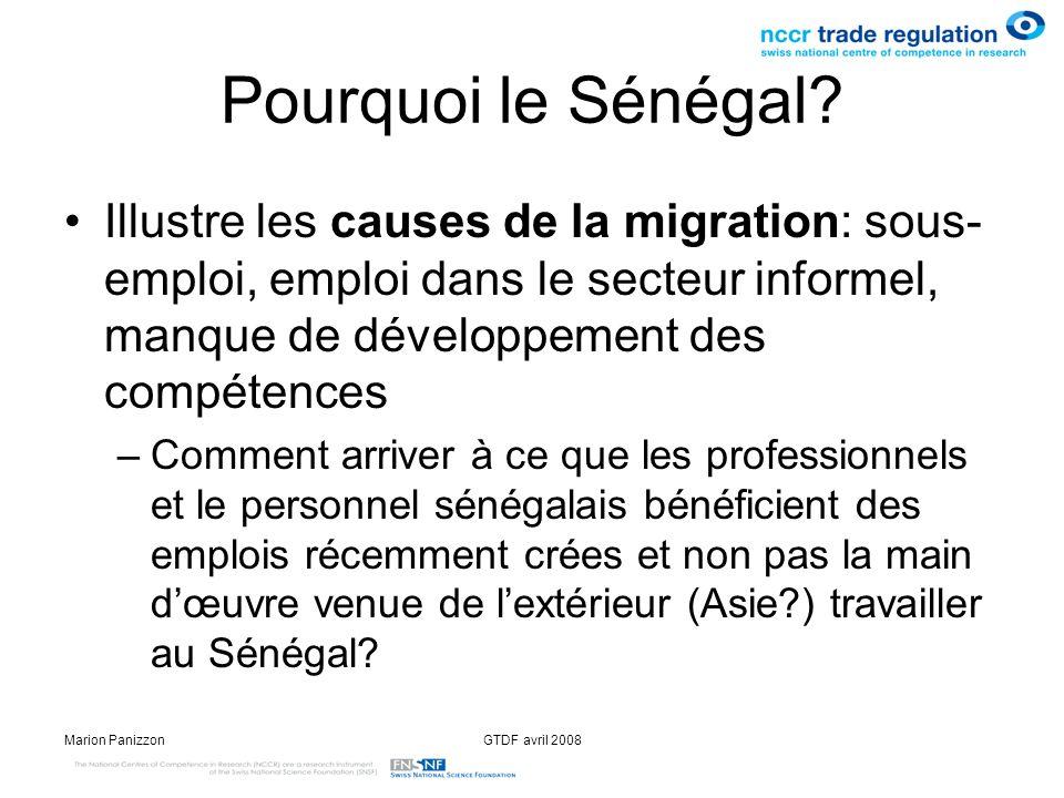 Pourquoi le Sénégal Illustre les causes de la migration: sous-emploi, emploi dans le secteur informel, manque de développement des compétences.