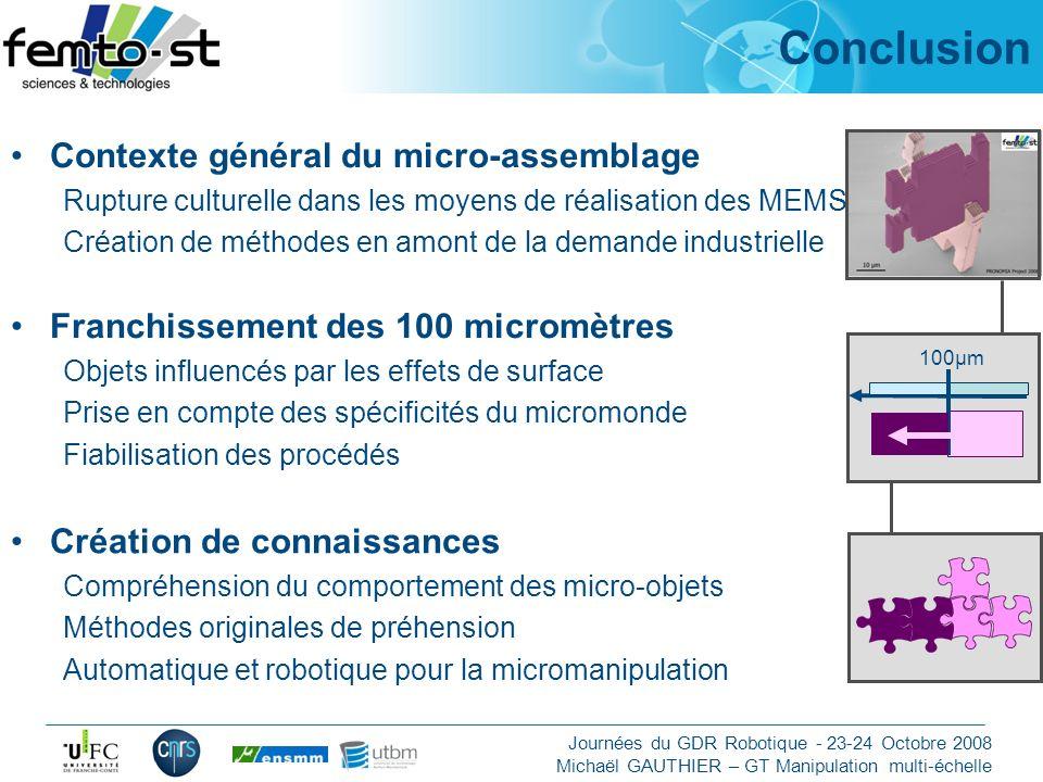 Conclusion Contexte général du micro-assemblage