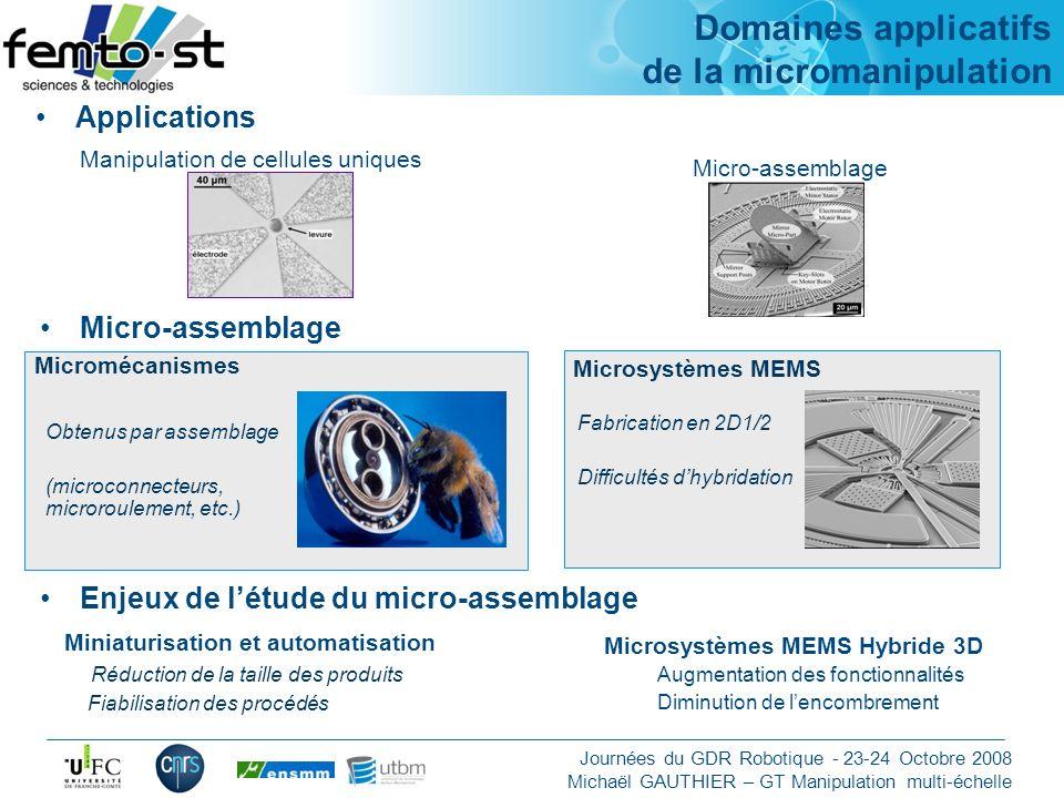 Domaines applicatifs de la micromanipulation