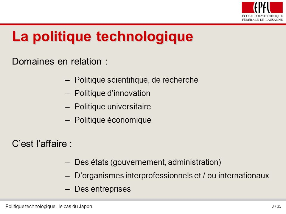 La politique technologique