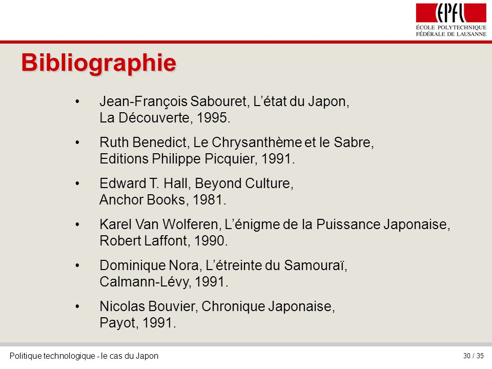 Bibliographie Jean-François Sabouret, L'état du Japon, La Découverte, 1995.