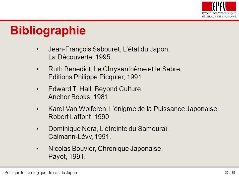 BibliographieJean-François Sabouret, L'état du Japon, La Découverte, 1995.