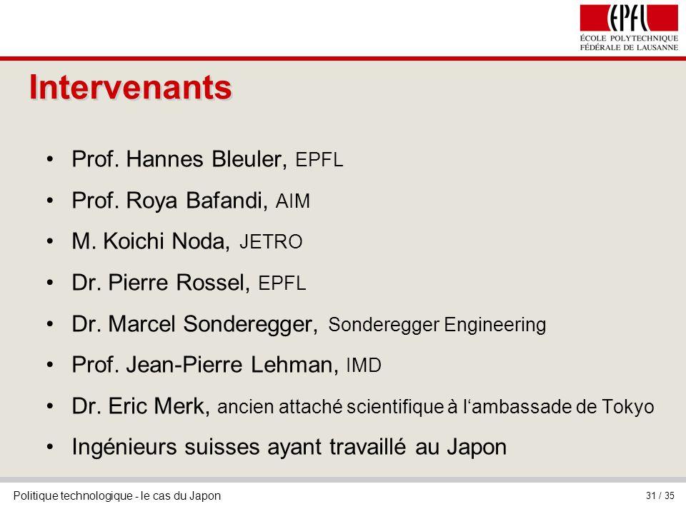 Intervenants Prof. Hannes Bleuler, EPFL Prof. Roya Bafandi, AIM