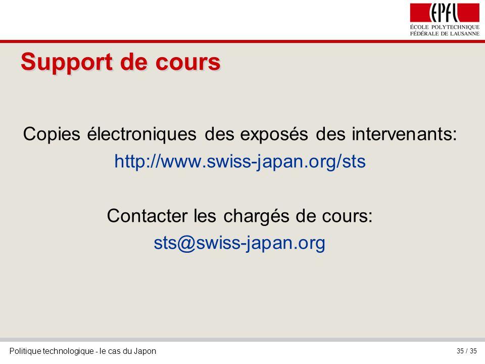 Support de cours Copies électroniques des exposés des intervenants: