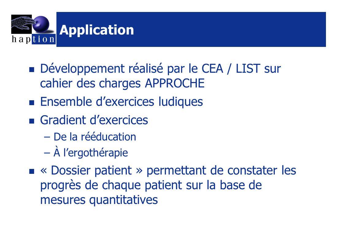 Application Développement réalisé par le CEA / LIST sur cahier des charges APPROCHE. Ensemble d'exercices ludiques.