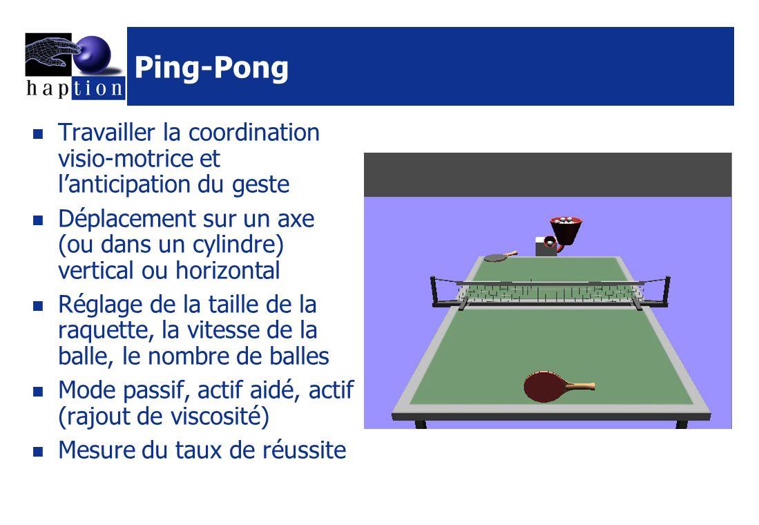 Ping-Pong Travailler la coordination visio-motrice et l'anticipation du geste.