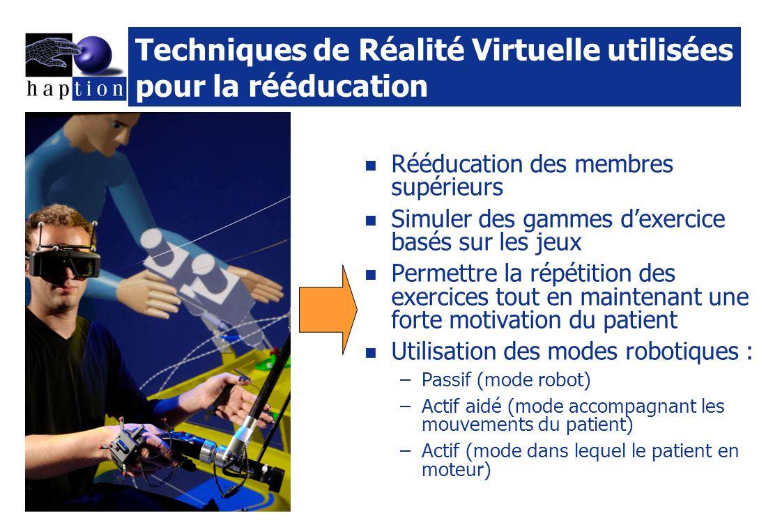 Techniques de Réalité Virtuelle utilisées pour la rééducation