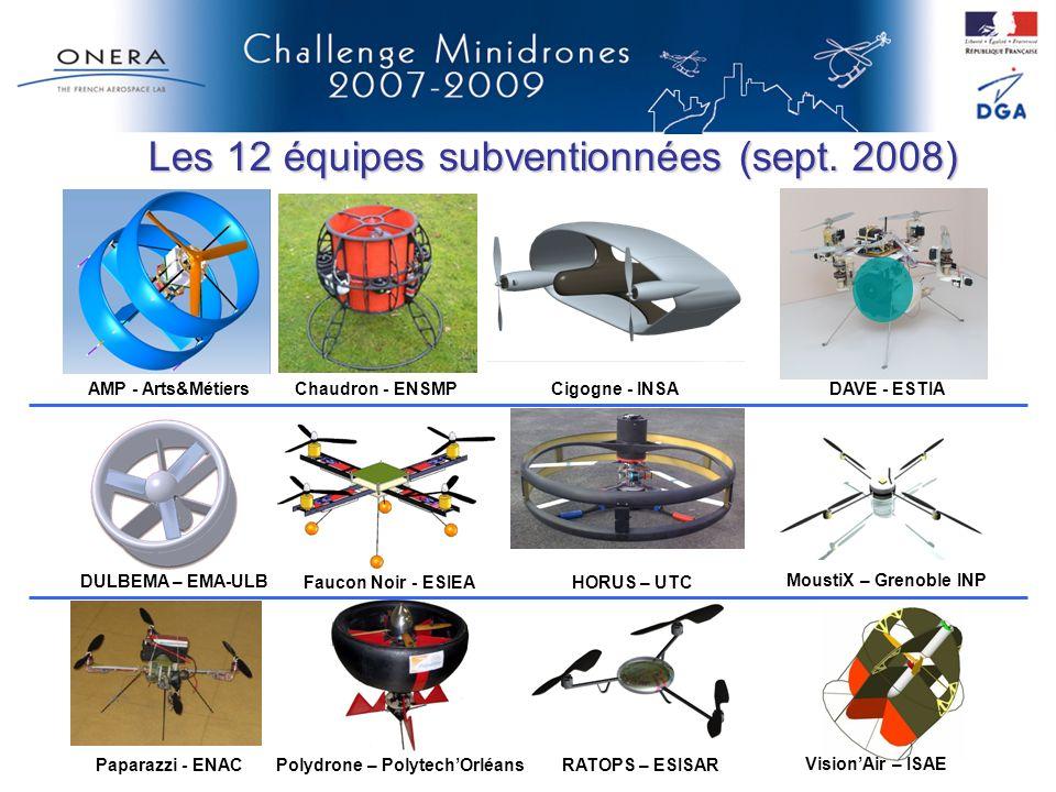 Les 12 équipes subventionnées (sept. 2008)
