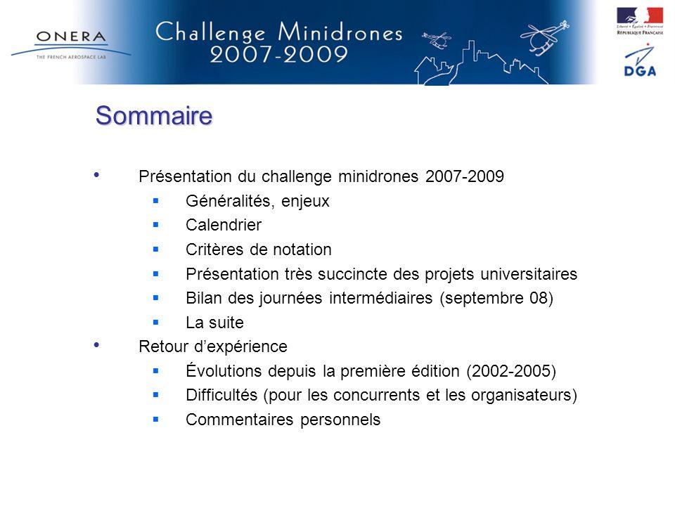 Sommaire Présentation du challenge minidrones 2007-2009