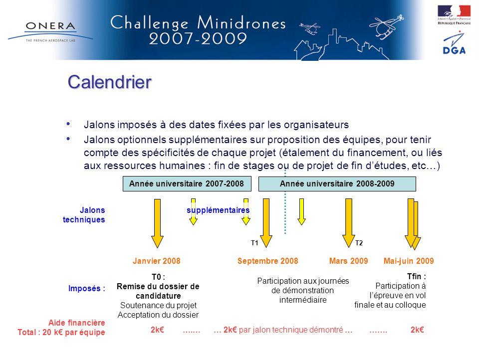 Calendrier Jalons imposés à des dates fixées par les organisateurs