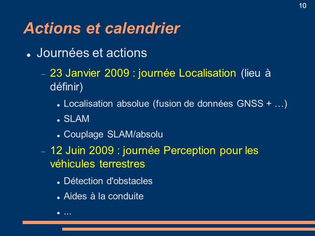 Actions et calendrier Journées et actions