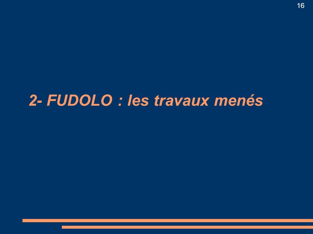 2- FUDOLO : les travaux menés