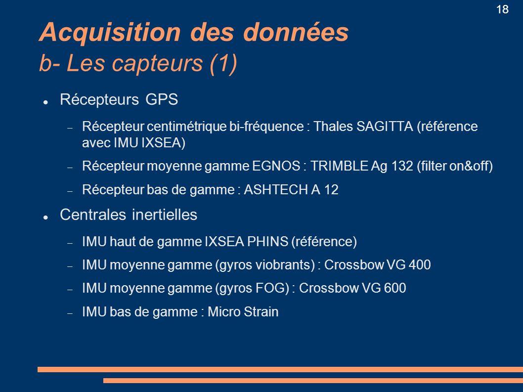 Acquisition des données b- Les capteurs (1)