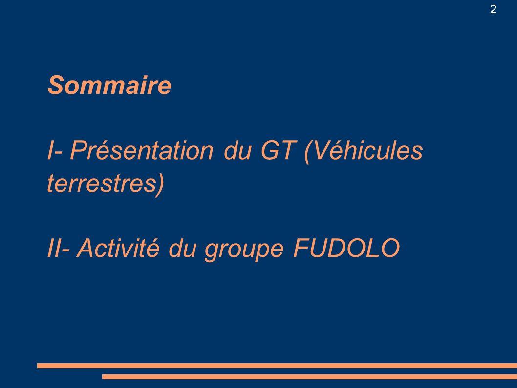 Sommaire I- Présentation du GT (Véhicules terrestres) II- Activité du groupe FUDOLO