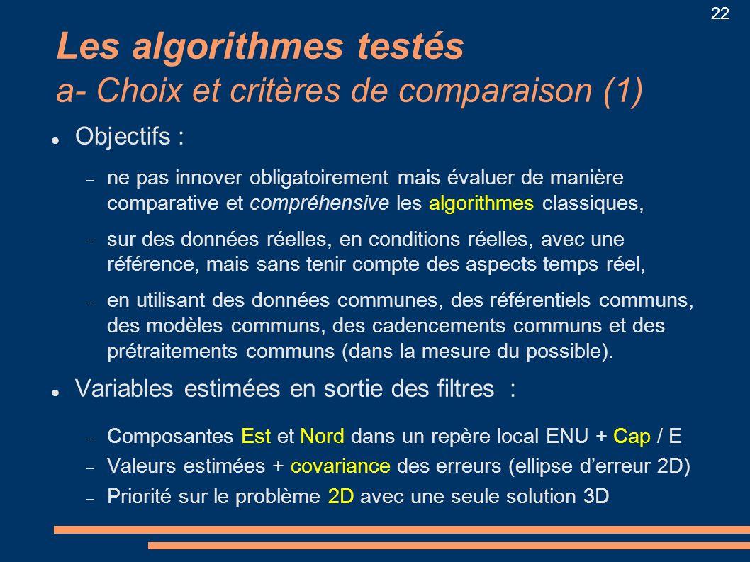 Les algorithmes testés a- Choix et critères de comparaison (1)