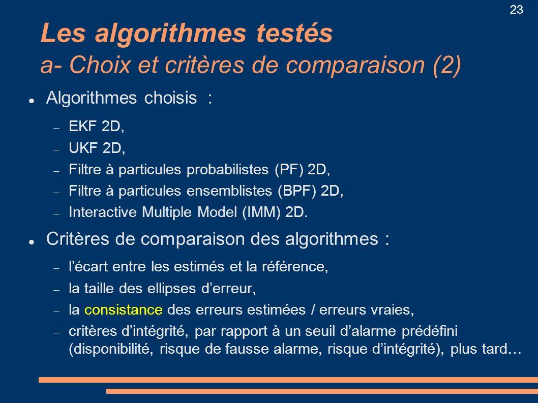 Les algorithmes testés a- Choix et critères de comparaison (2)