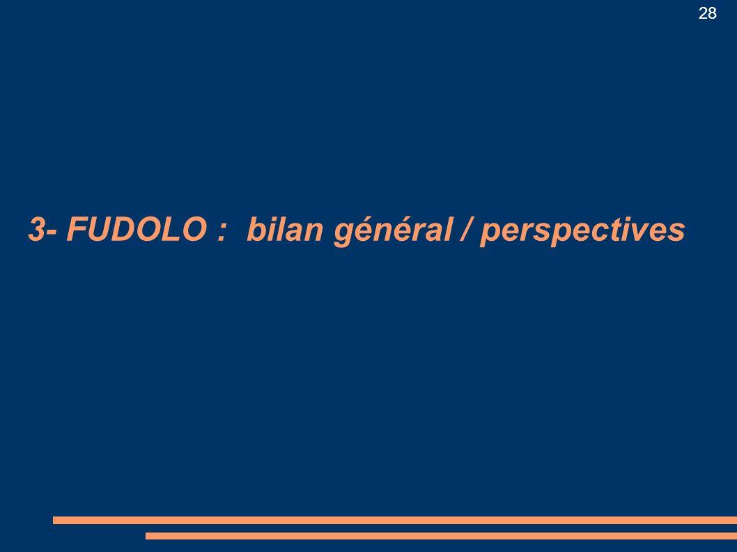 3- FUDOLO : bilan général / perspectives