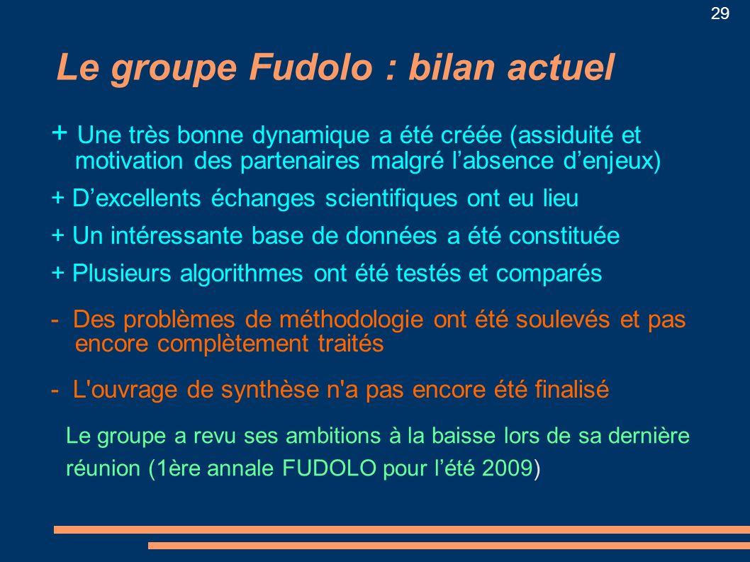Le groupe Fudolo : bilan actuel