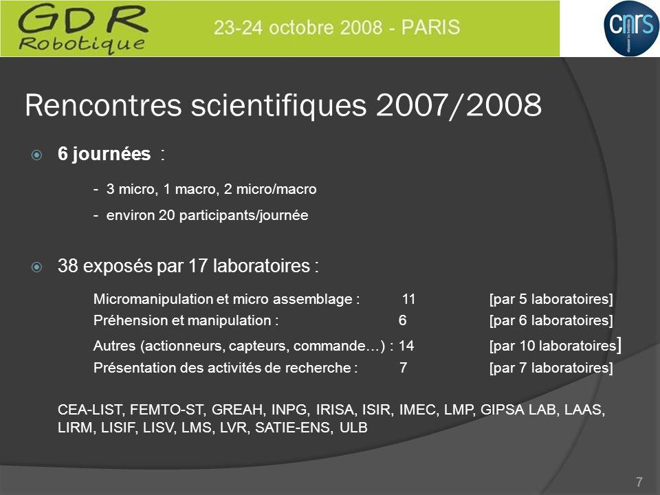 Rencontres scientifiques 2007/2008