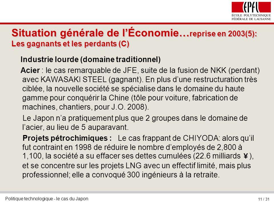 Situation générale de l'Économie…reprise en 2003(5): Les gagnants et les perdants (C)