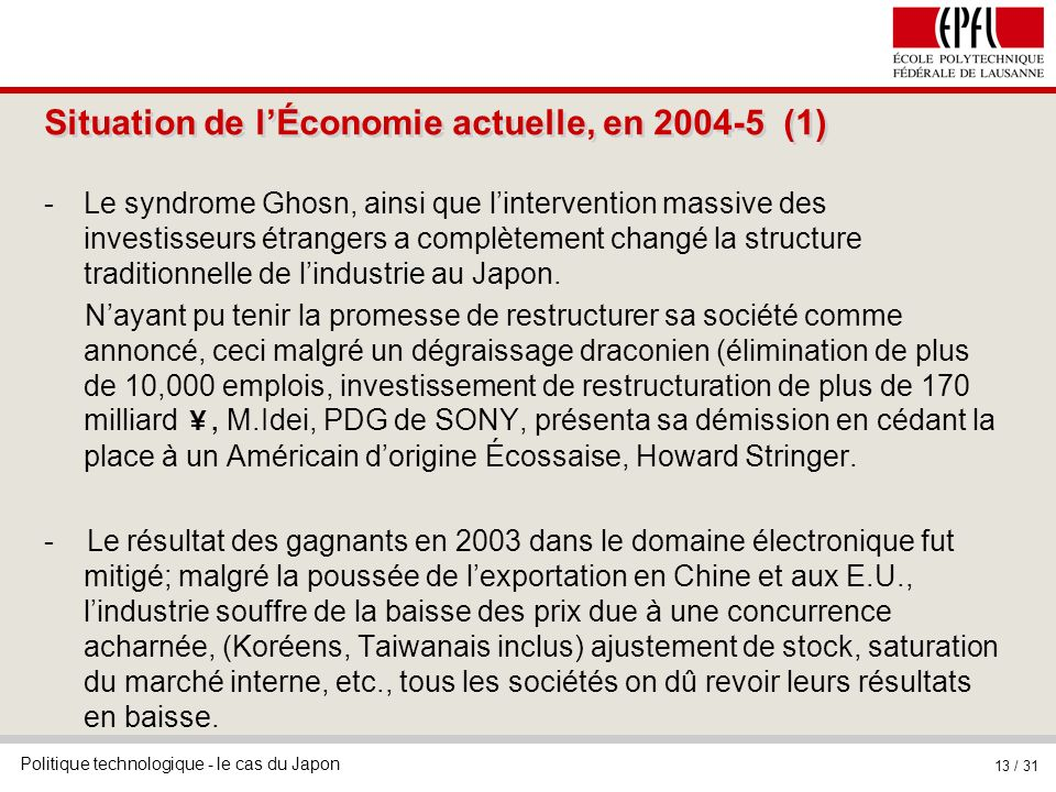 Situation de l'Économie actuelle, en 2004-5 (1)