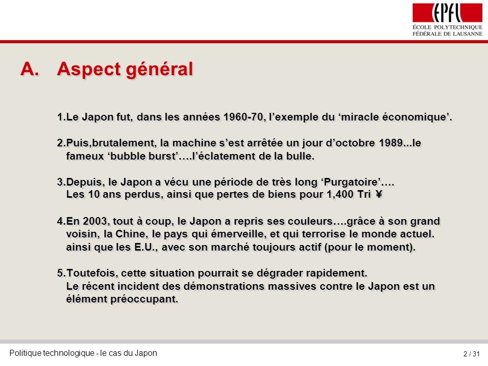 Aspect général 1.Le Japon fut, dans les années 1960-70, l'exemple du 'miracle économique'.