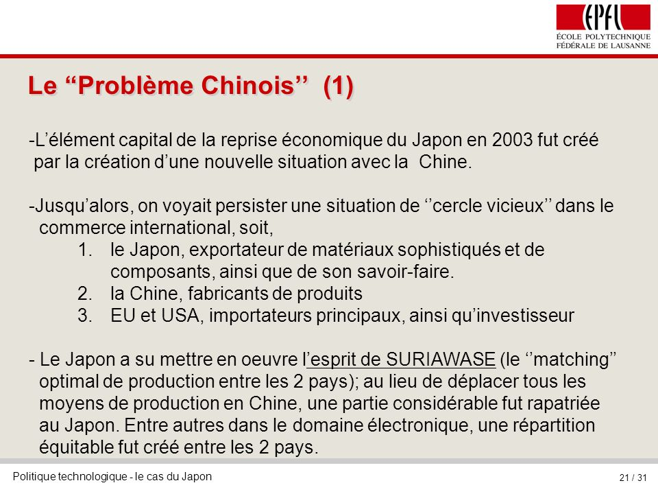 Le Problème Chinois'' (1)