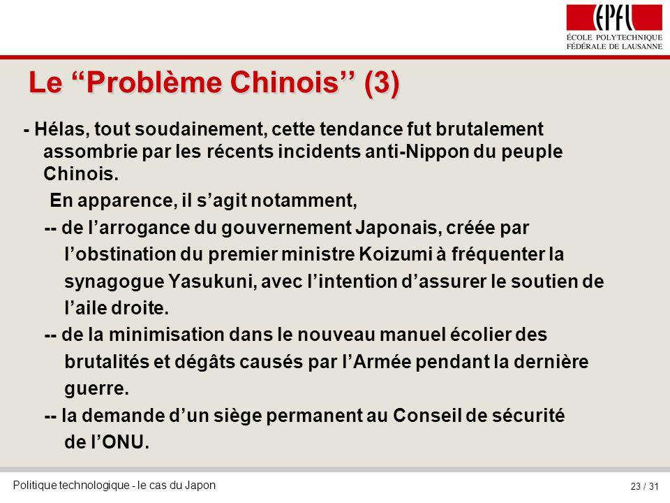 Le Problème Chinois'' (3)