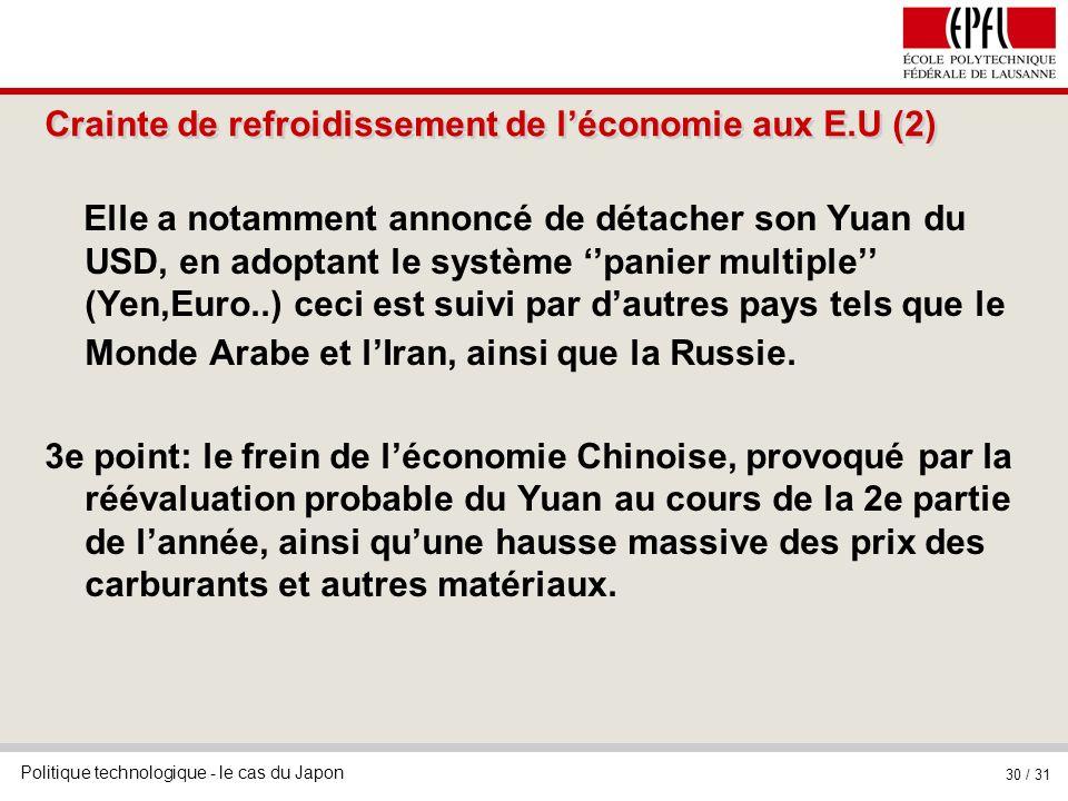 Crainte de refroidissement de l'économie aux E.U (2)