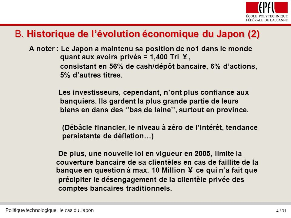 B. Historique de l'évolution économique du Japon (2)