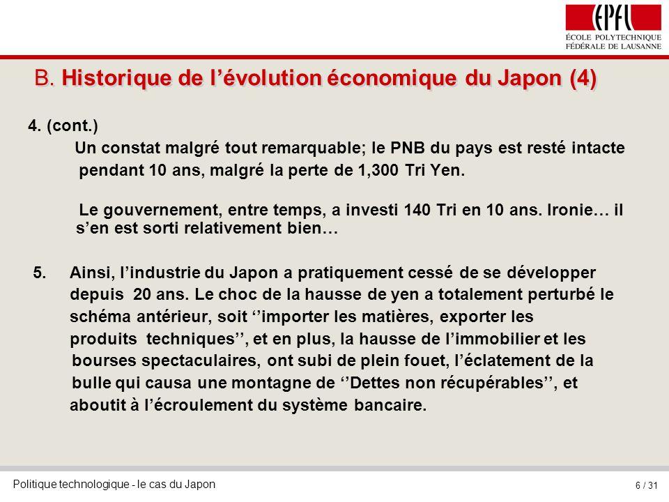 B. Historique de l'évolution économique du Japon (4)