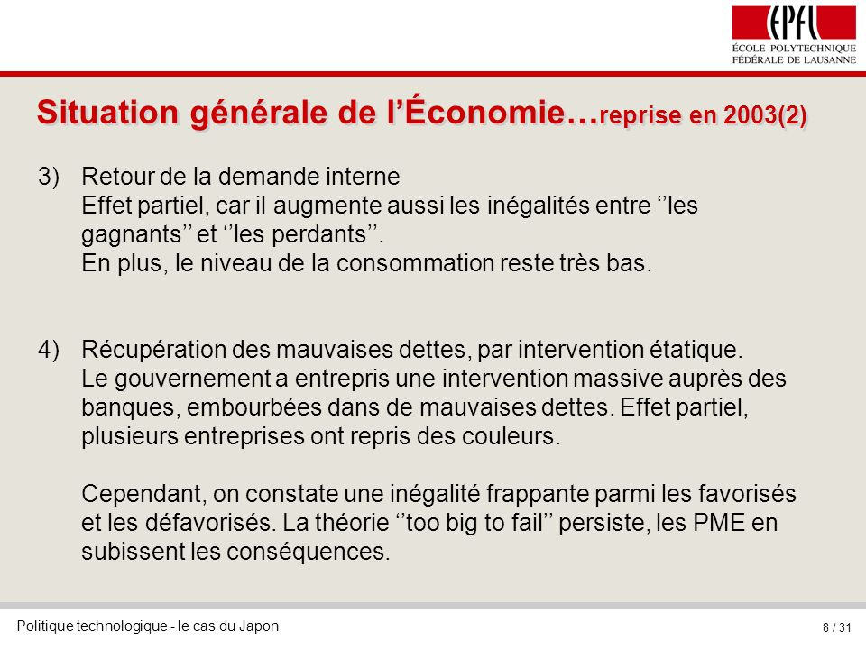 Situation générale de l'Économie…reprise en 2003(2)