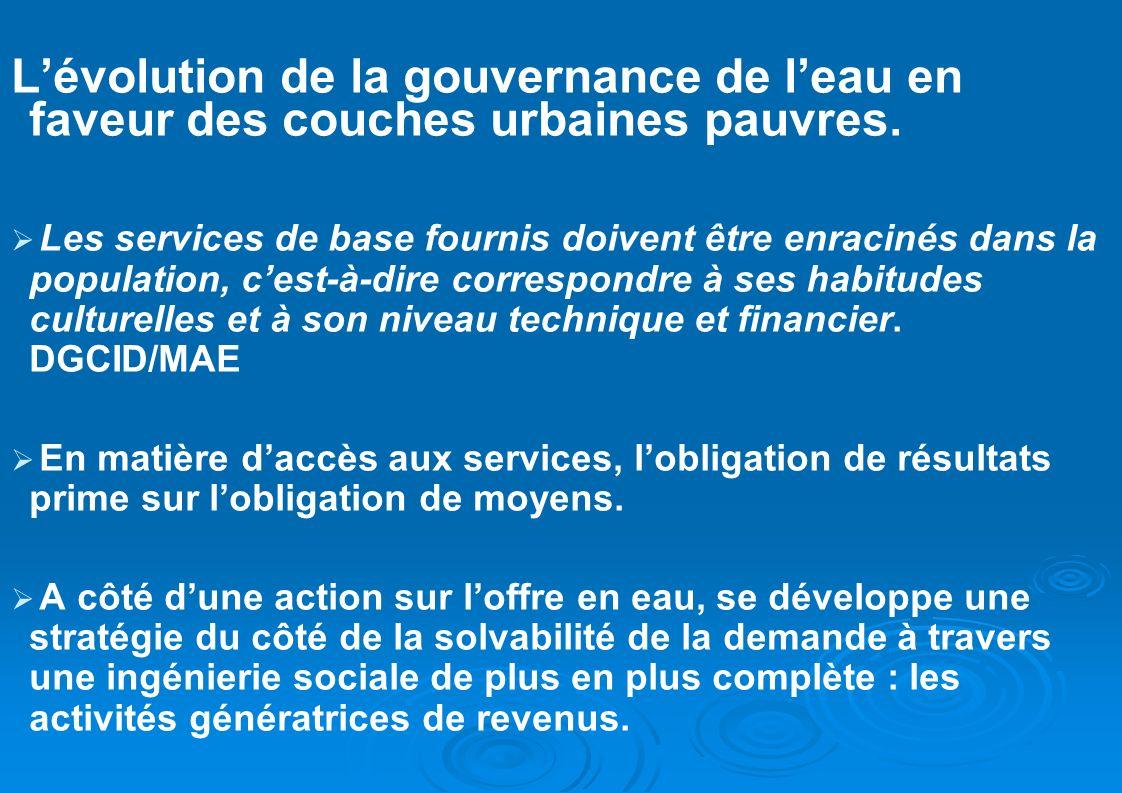 L'évolution de la gouvernance de l'eau en faveur des couches urbaines pauvres.