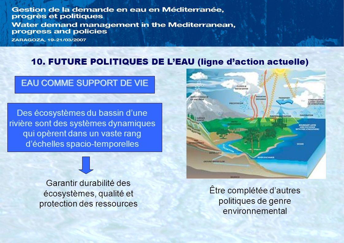 10. FUTURE POLITIQUES DE L'EAU (ligne d'action actuelle)