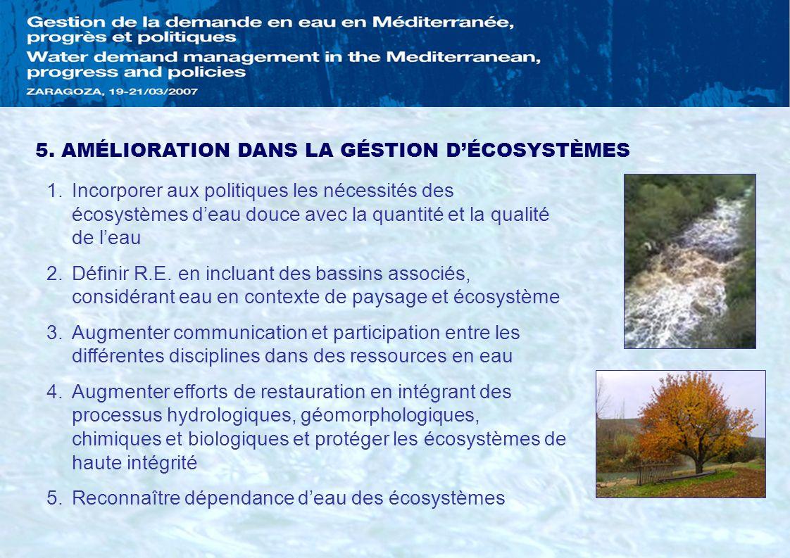 5. AMÉLIORATION DANS LA GÉSTION D'ÉCOSYSTÈMES