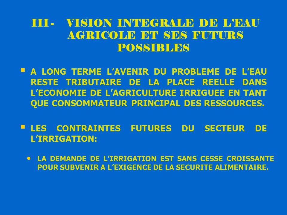 III - VISION INTEGRALE DE L'EAU AGRICOLE ET SES FUTURS POSSIBLES