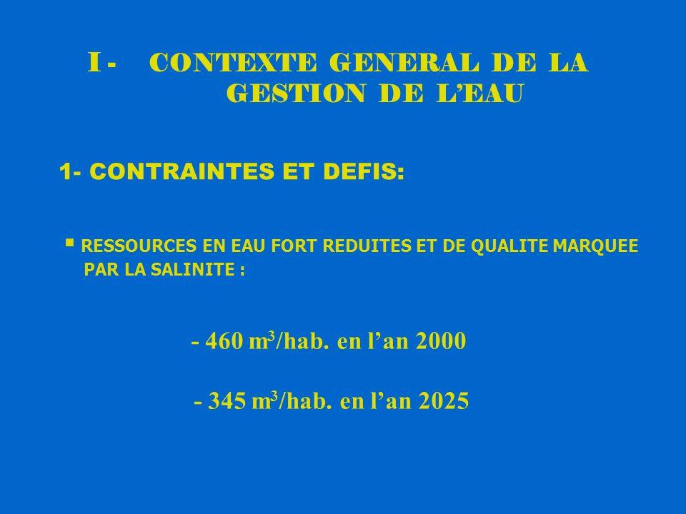 I - CONTEXTE GENERAL DE LA GESTION DE L'EAU