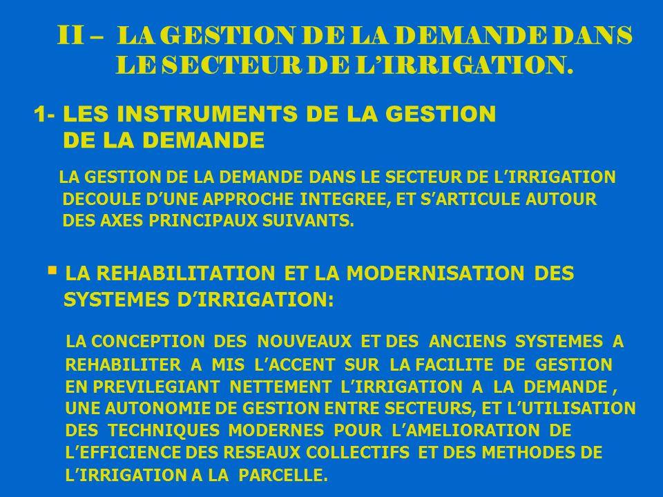 II – LA GESTION DE LA DEMANDE DANS LE SECTEUR DE L'IRRIGATION.
