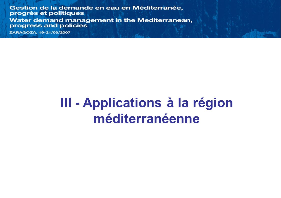 III - Applications à la région méditerranéenne