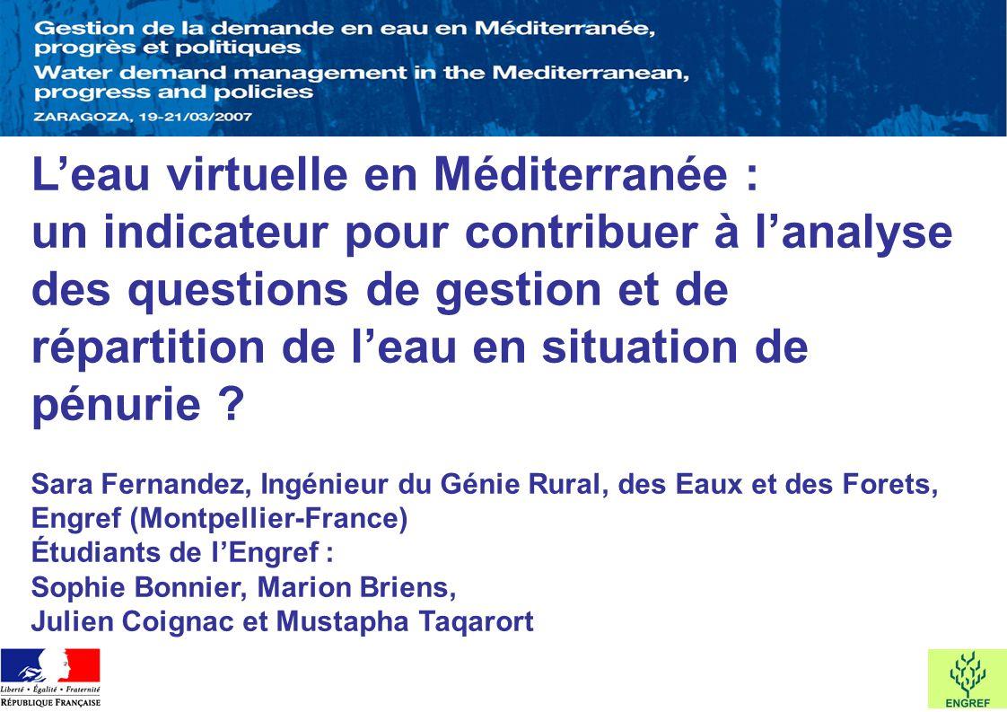 L'eau virtuelle en Méditerranée : un indicateur pour contribuer à l'analyse des questions de gestion et de répartition de l'eau en situation de pénurie