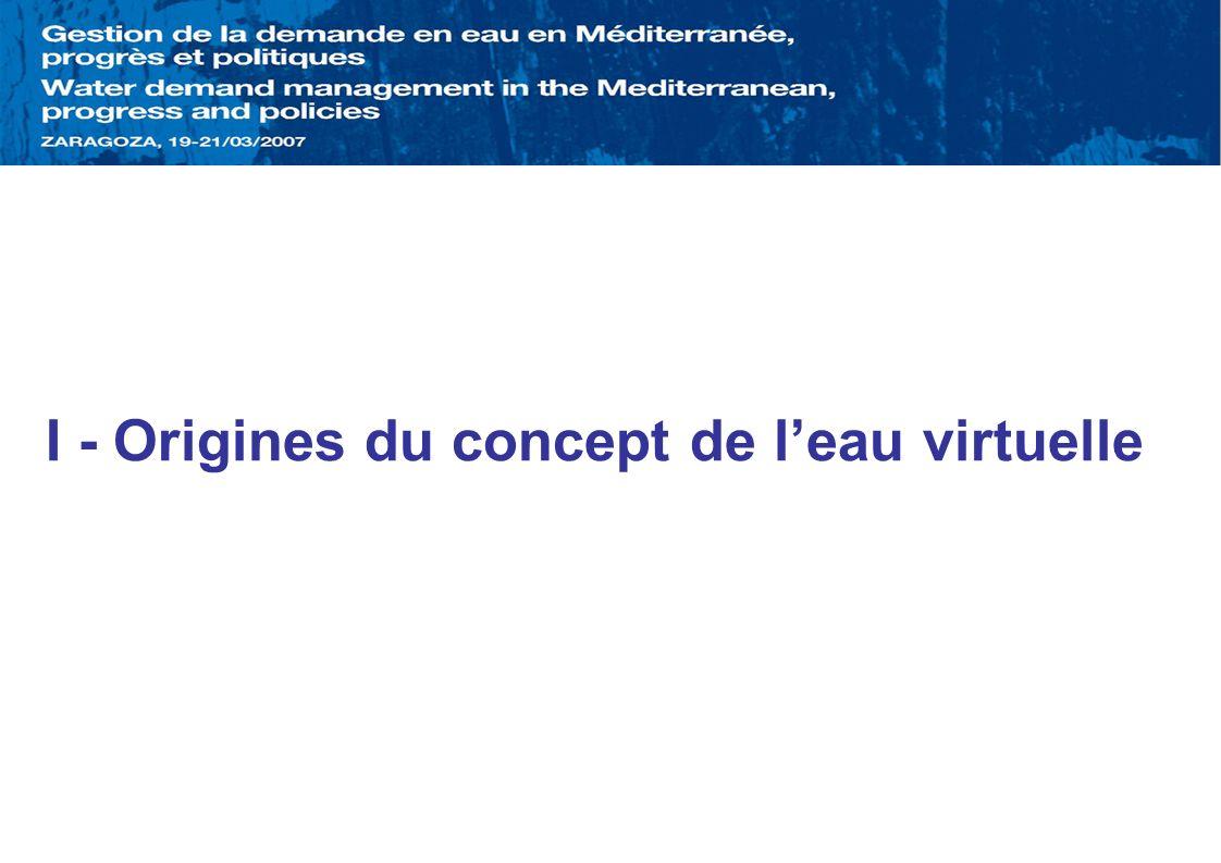 I - Origines du concept de l'eau virtuelle