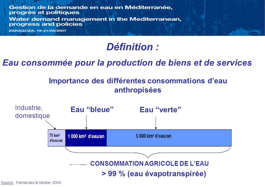 CONSOMMATION AGRICOLE DE L'EAU > 99 % (eau évapotranspirée)
