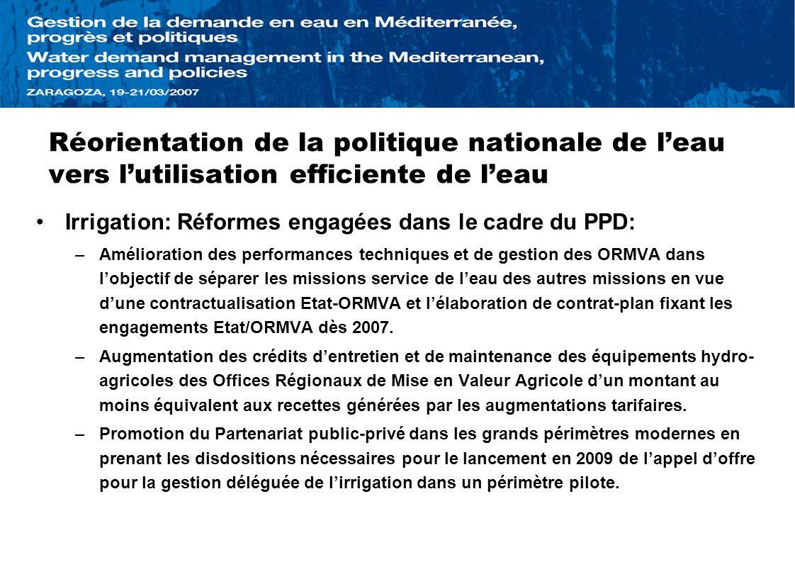 Réorientation de la politique nationale de l'eau vers l'utilisation efficiente de l'eau