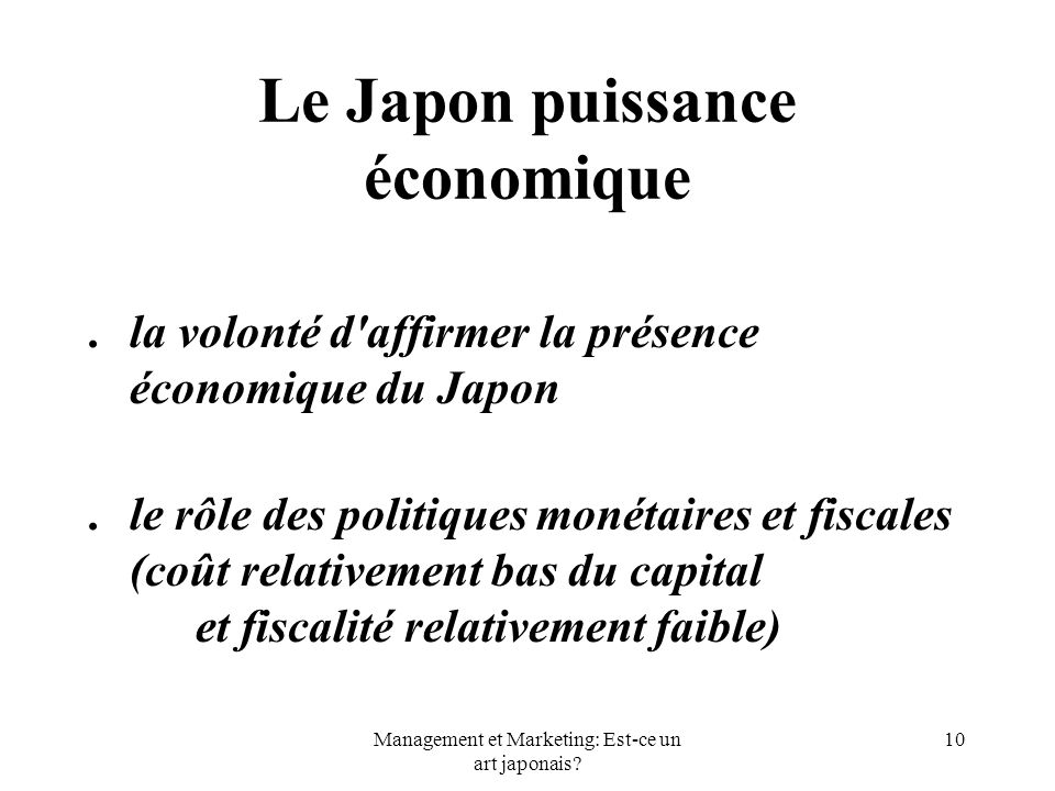 Le Japon puissance économique