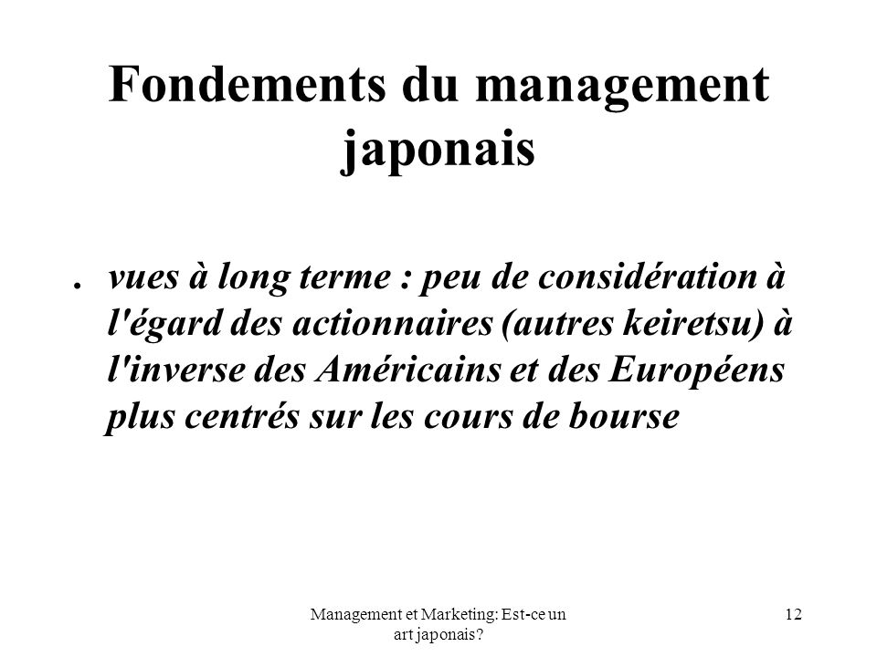 Fondements du management japonais