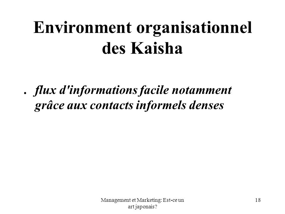 Environment organisationnel des Kaisha