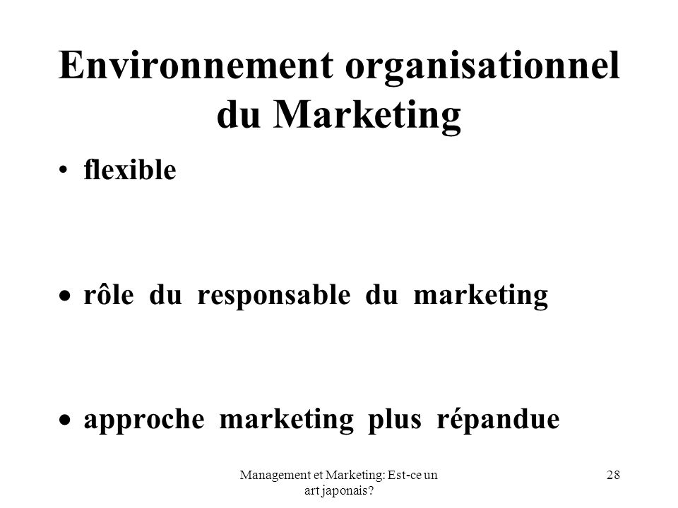 Environnement organisationnel du Marketing