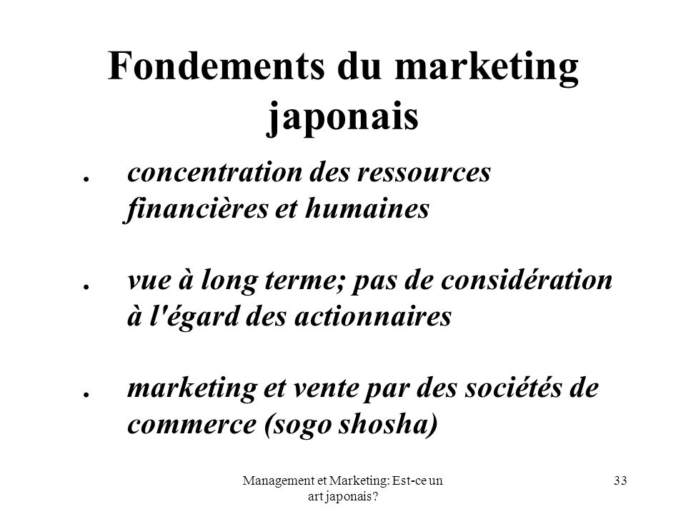 Fondements du marketing japonais